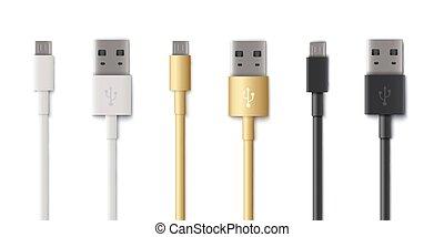 c, b, cabo usb, isolated., um, ilustração, conectores, computador, plugues, tipo, ou