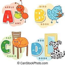 c, b, d, アルファベット, ねこ, 犬, 蟻, 鳥, 手紙