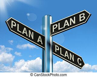 c, b, dilemma, het tonen, keuze, plan, strategie, of,...