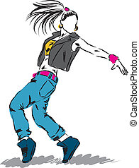 c, bailarín, cadera-salto, ilustración