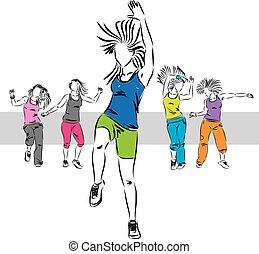 c, bailarines, grupo, zumba, ilustración