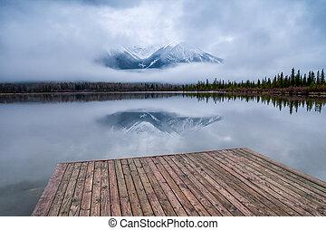 c, banff, dok, drewniany, narodowy park, jeziora, vermillion, alberta