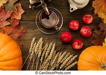 c, blé, mûre, bois, thé, autumn., vie, feuilles, thanksgiving, arrière-plan., pommes, potirons, samovar, orange, encore, érable