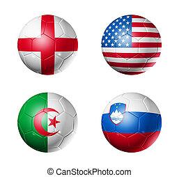c, bolas, grupo, copo, bandeiras, mundo, futebol