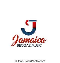 c, brief, vektor, ikone, für, reggae, musik