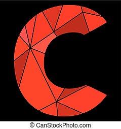 C, carta, alfabeto, aislado,  vector, negro, Plano de fondo, rojo