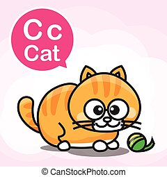 C Cat color cartoon and alphabet for children to learning vector illustration eps10
