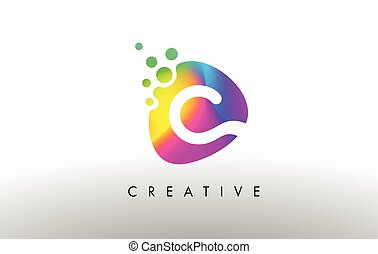 C Colorful Logo Design Shape. Purple Abstract Shape Letter Icon.