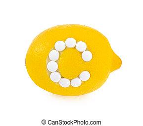 c, conceito, limão, sobre, -, vitamina, fundo, branca, pílulas