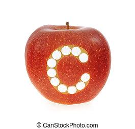 c, conceito, maçã, sobre, -, vitamina, fundo, branca, pílulas, vermelho