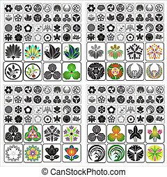c, conjunto, emblemas, crestas, japonés