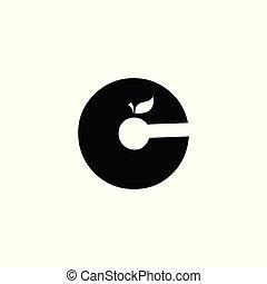 c, cor apple, pretas, logotipo, branca, fonte