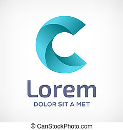c, cor, modelo, logotipo, elements., ícone, vetorial, letra, sinal., desenho