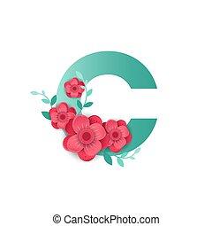 c, couleur, fleurs, lettre, beau