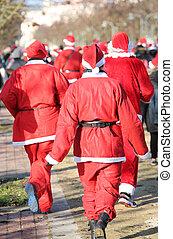 c, course, gens, événement sportif, courant, santa, pendant, appelé