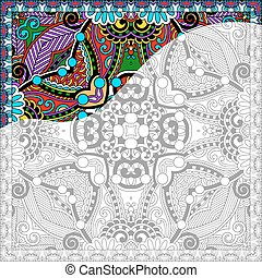 c, cuadrado, adultos, -, libro, colorido, floral, único, auténtico, página
