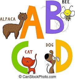 c, d, b, アルファベット, a, 動物