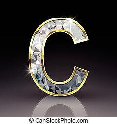 c, diamant, brillant, lettre, 3d