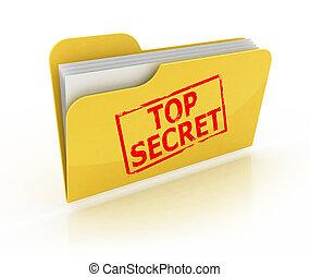 c, dossier, sommet, icône, top secret