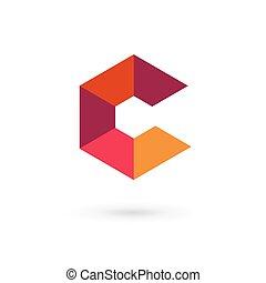 c, elementos, modelo, mosaico, logotipo, ícone, letra, desenho