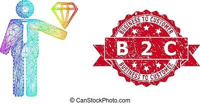 c, empresa / negocio, 2, sello, novio, b, cliente, diamante, lineal, caucho, multicolor
