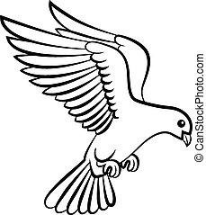 c, fåglar, logo, duva, tecknad film, fred