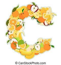 c, fait, -, illustration, vecteur, lettre, fruits.