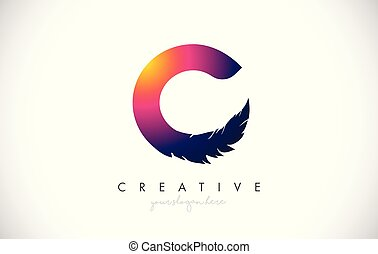 C Feather Letter Logo Icon Design With Feather Feathers Creative Look Vector Illustration