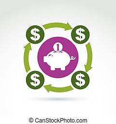 c, financier, personnel, système, symbole, banque, économies...