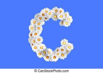 c, fleur, lettre, camomile