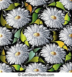 c, fleur, pattern., seamless, aster, vecteur, floral, pâquerette blanche, 3d