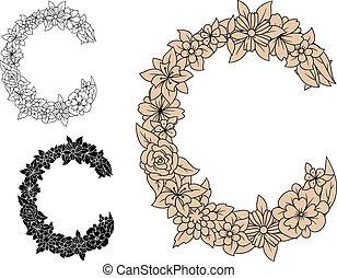 c, fleurir, fleurs, lettre, capital