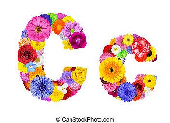 c, flor, alfabeto, -, isolado, letra, branca