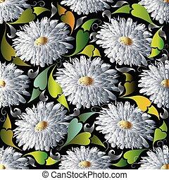 c, flor, pattern., seamless, aster, vetorial, floral, margarida branca, 3d