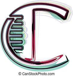 c, font, illustrazione, lettera