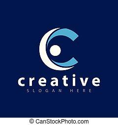 c, gabarit, gens, vecteur, lettre, logo, icône