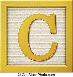 c, gele, brief, blok, 3d