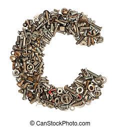 c, gemaakt, bouten, alfabet, -, brief