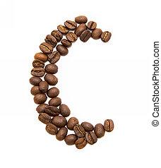 c, gemaakt, koffie bonen, brief, geroosterd