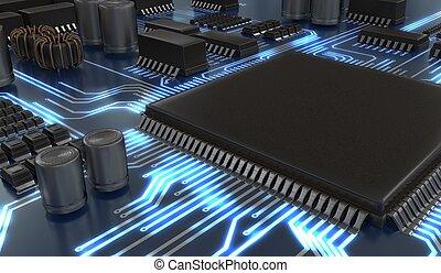 c, gereproduceerd, illustratie, of, microchip., technologie, bewerker, 3d