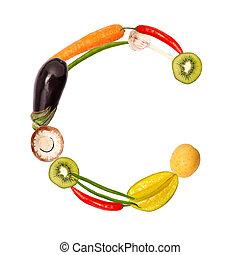 c, gevarieerd, groentes, brief, vruchten