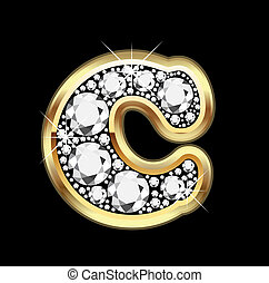 C gold with diamonds bling vector