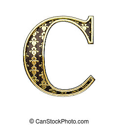 c golden letter 3d illustration