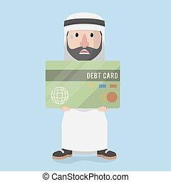 c grande, árabe, segurando, homem negócios