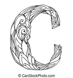 c, griffonnage, pattern., élément, freehand, vecteur, conception, lettre, capital, floral, noir, blanc, dessin, ton