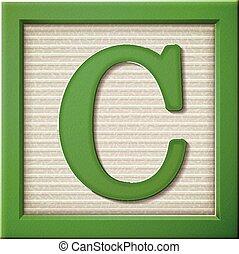 c, groene, brief, blok, 3d