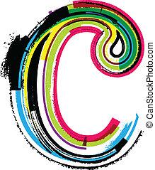 c, grunge, colorito, lettera