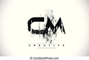 c, grunge, illustration., cm, m, colori, vettore, disegno, spazzola, lettera, logotipo, nero