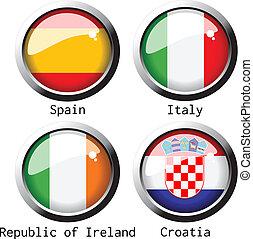 c, gruppo, -, vettore, bandiere, 2012, uefa, euro