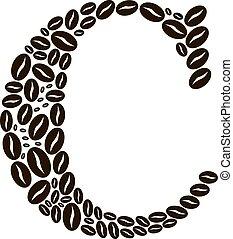 c-hang, elkészített, állhatatos, kávécserje, vektor, bab, levél